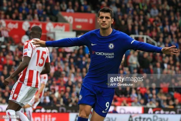 Chelsea's Spanish striker Alvaro Morata celebrates scoring the opening goal of the English Premier League football match between Stoke City and...
