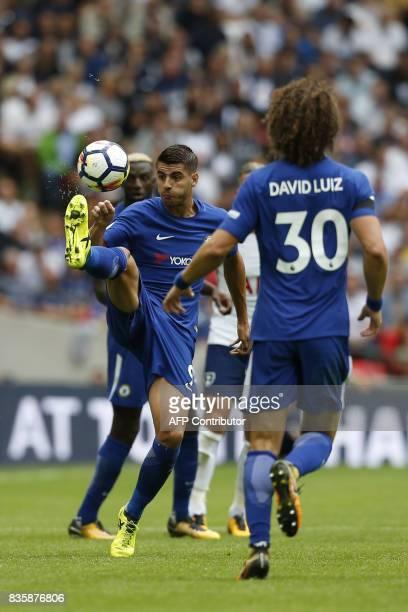 Chelsea's Spanish striker Alvaro Morata controls the ball during the English Premier League football match between Tottenham Hotspur and Chelsea at...