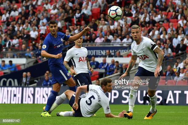 Chelsea's Spanish striker Alvaro Morata makes a shot during the English Premier League football match between Tottenham Hotspur and Chelsea at...