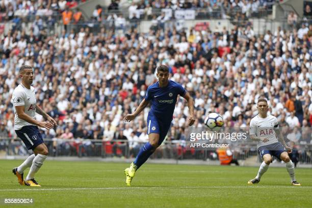Chelsea's Spanish striker Alvaro Morata shoots wide of the goal during the English Premier League football match between Tottenham Hotspur and...
