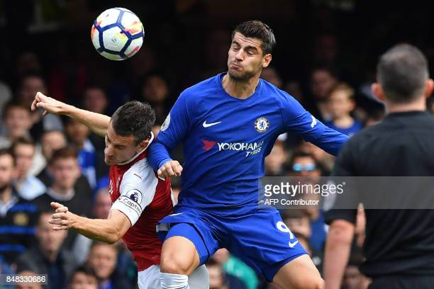 Chelsea's Spanish striker Alvaro Morata vies with Arsenal's French defender Laurent Koscielny during the English Premier League football match...