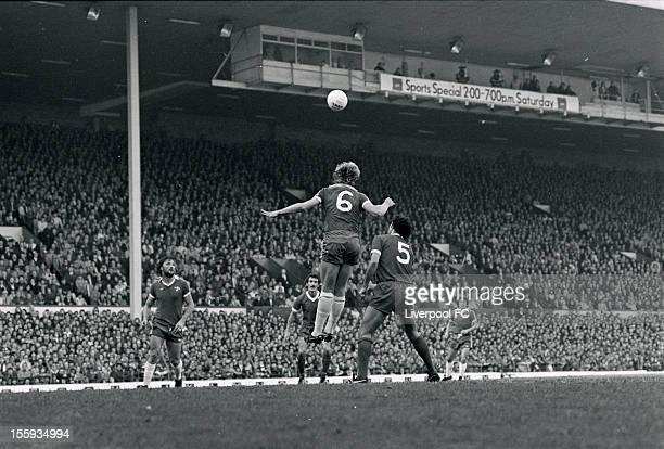 Chelsea's Steve Wicks heads clear of Ray Kennedy of Liverpool during the league division one match between Liverpool and Chelsea at Anfield on...
