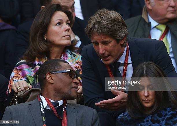 Chelsea's Techincal DIrector Michael Emenalo speaks to Edwin Van de Sar during the UEFA Europa League Final between SL Benfica and Chelsea FC at...