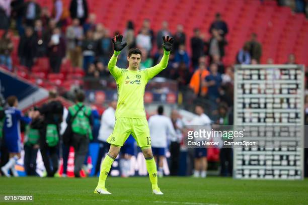 Chelsea's Thibaut Courtois acknowledges the fans after the Emirates FA Cup SemiFinal match between Tottenham Hotspur and Chelsea at Wembley Stadium...