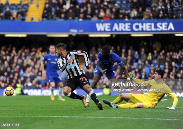 Chelsea's Thibaut Courtois and Antonio Rudiger get in each others way during the Premier League match between Chelsea and Newcastle United at...