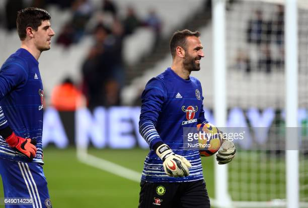 LR Chelsea's Thibaut Courtois and Chelsea's Eduardo during EPL Premier League match between West Ham United against Chelsea at The London Stadium...