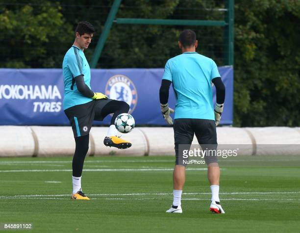 Chelsea's Thibaut Courtois during Chelsea Training session priory to they game against FK Qarabag at Cobham Training Ground on September 11 2017 in...