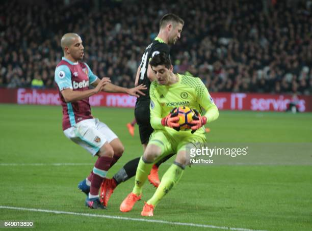 Chelsea's Thibaut Courtois during EPL Premier League match between West Ham United against Chelsea at The London Stadium Queen Elizabeth II Olympic...