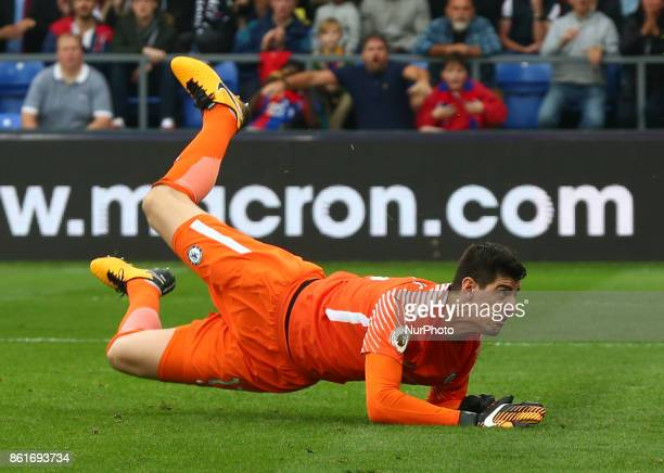 Chelsea's Thibaut Courtois during Premier League match between Crystal Palace and Chelsea at Selhurst Park Stadium London England on 14 Oct 2017