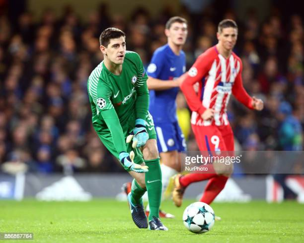 Chelsea's Thibaut Courtois during the Champions League Group C match between Chelsea and Atlético Madrid at Stamford Bridge London England on 5 Dec...