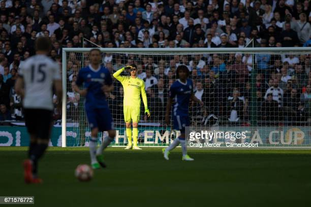 Chelsea's Thibaut Courtois during the Emirates FA Cup SemiFinal match between Tottenham Hotspur and Chelsea at Wembley Stadium on April 22 2017 in...