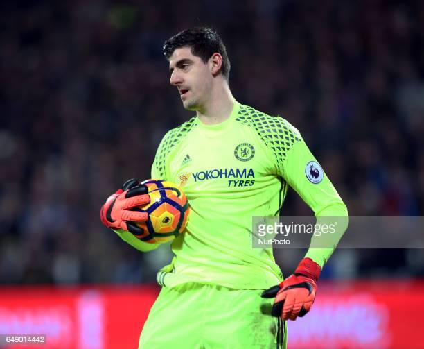 Chelsea's Thibaut Courtois during the prematch warmup during EPL Premier League match between West Ham United against Chelsea at The London Stadium...