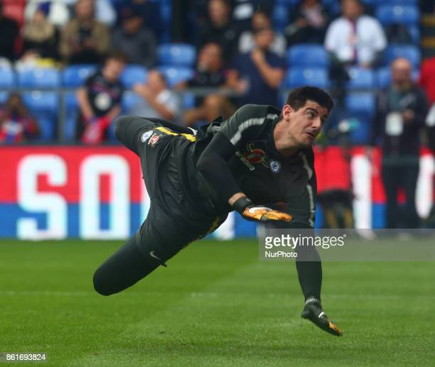 Chelsea's Thibaut Courtois during the prematch warmup during Premier League match between Crystal Palace and Chelsea at Selhurst Park Stadium London...