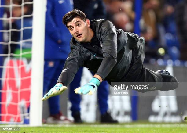 Chelsea's Thibaut Courtois during the prematch warmup during the Champions League Group C match between Chelsea and Atlético Madrid at Stamford...