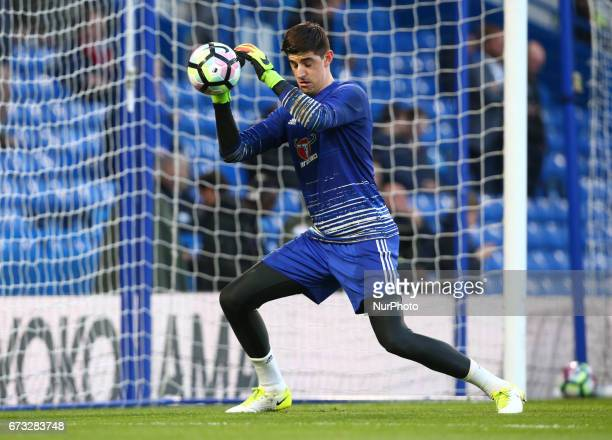 Chelsea's Thibaut Courtois during the prematch warmup during the Premier League match between Chelsea and Southampton at Stamford Bridge London...