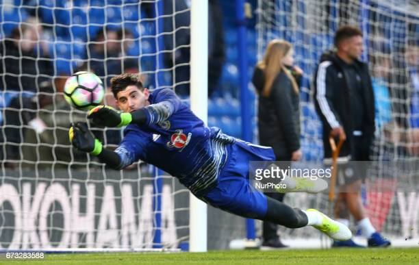 Chelsea's Thibaut Courtois during the Premier League match between Chelsea and Southampton at Stamford Bridge London England on 25 April 2017