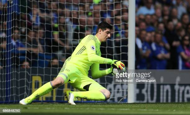 Chelsea's Thibaut Courtois during the Premier League match between Chelsea and Sunderland at Stamford Bridge on May 21 2017 in London England