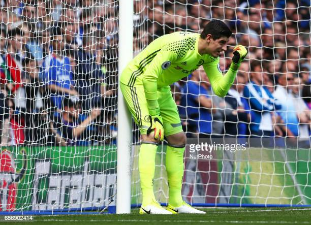 Chelsea's Thibaut Courtois during the Premier League match between Chelsea and Sunderland at Stamford Bridge London England on 21 May 2017