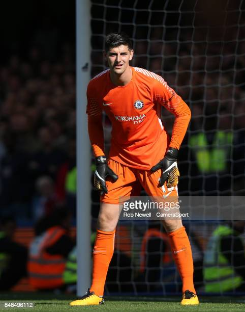 Chelsea's Thibaut Courtois during the Premier League match between Chelsea and Arsenal at Stamford Bridge on September 17 2017 in London England