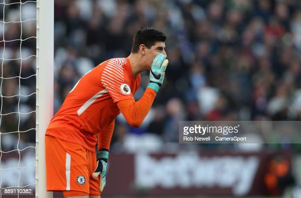 Chelsea's Thibaut Courtois during the Premier League match between West Ham United and Chelsea at London Stadium on December 9 2017 in London England