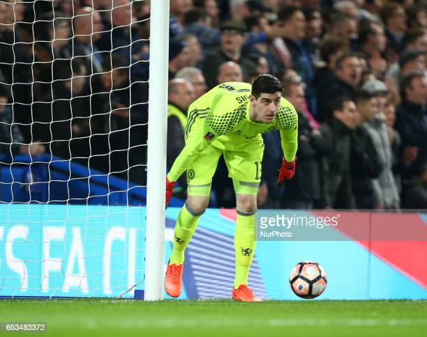 Chelsea's Thibaut Courtois during the The Emirates FA Cup Sixth Round match between Chelsea and Manchester United at Stamford Bridge London England...