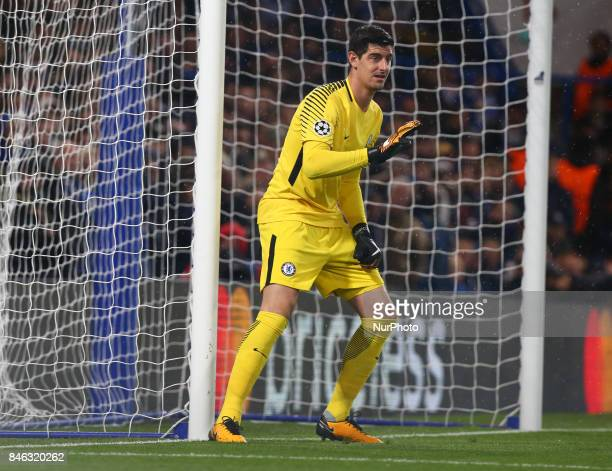 Chelsea's Thibaut Courtois during UEFA Champions League Group C match between Chelsea and FK Qarabag at Stanford Bridge London 12 Sept 2017