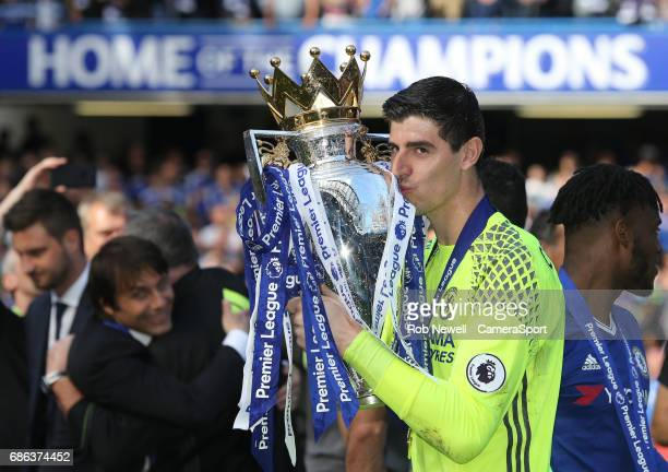Chelsea's Thibaut Courtois with the trophy at the end of the game during the Premier League match between Chelsea and Sunderland at Stamford Bridge...