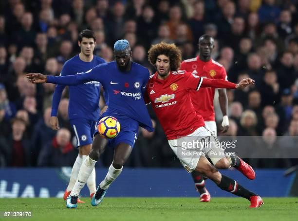 Chelsea's Tiemoue Bakayoko and Manchester United's Marouane Fellaini battle for the ball