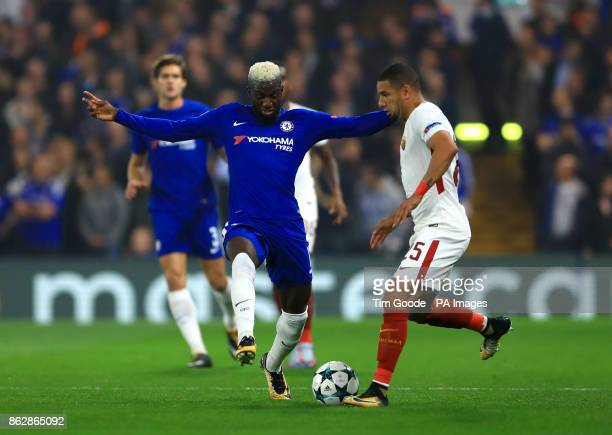 Chelsea's Tiemoue Bakayoko and Roma's Nunes Juan Jesus during the UEFA Champions League Group C match at Stamford Bridge London