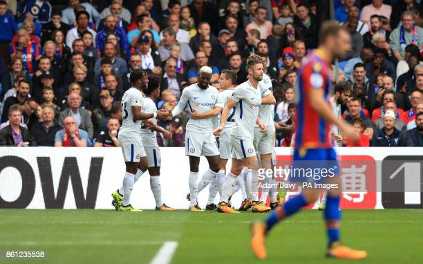 Chelsea's Tiemoue Bakayoko celebrates scoring his side's first goal of the game with teammates during the Premier League match at Selhurst Park London