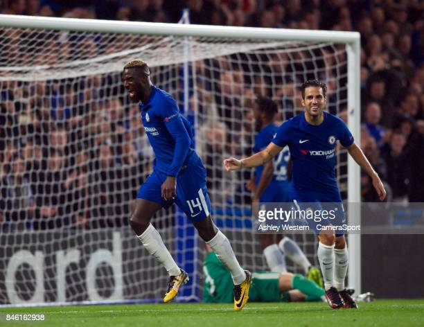 Chelsea's Tiemoue Bakayoko celebrates scoring his side's fourth goal during the UEFA Champions League group C match between Chelsea FC and Qarabag FK...