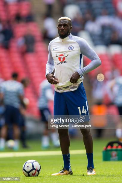 Chelsea's Tiemoue Bakayoko during the prematch warmup before the Premier League match between Tottenham Hotspur and Chelsea at Wembley Stadium on...