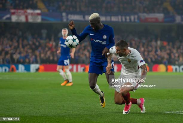 Chelsea's Tiemoue Bakayoko holds off the challenge from Roma's Aleksandar Kolarov during the UEFA Champions League group C match between Chelsea FC...