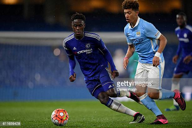 Chelsea's Trevoh Chalobah and Manchester City's Jadon Sancho in action