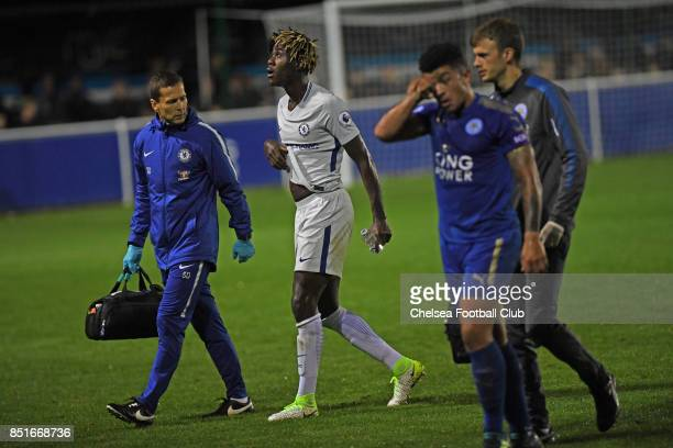 Chelsea's Trevoh Chalobah takes a knock during the Premier League 2 match between Leicester City and Chelsea on September 22 2017 in Leicester England