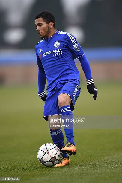 Chelsea's U19 Jay Dasilva during a Quarter Final Youth League match between Chelsea Under 19 and Ajax Under 19 at Cobham training ground on 15th...