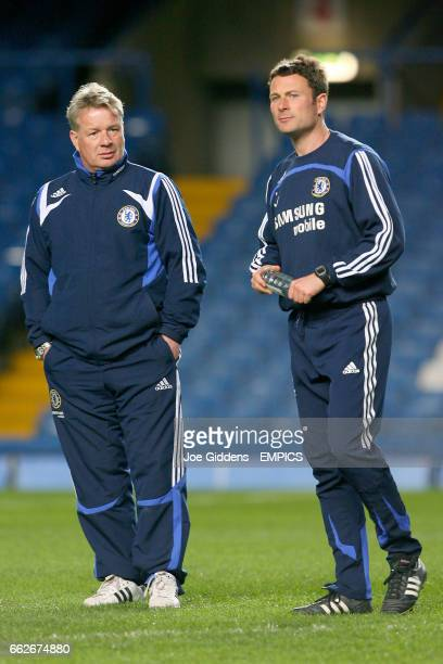 Chelsea's Under 16 Coach Dermot Drummy and Academy Fitness and Conditioning Coach Chris Jones during training