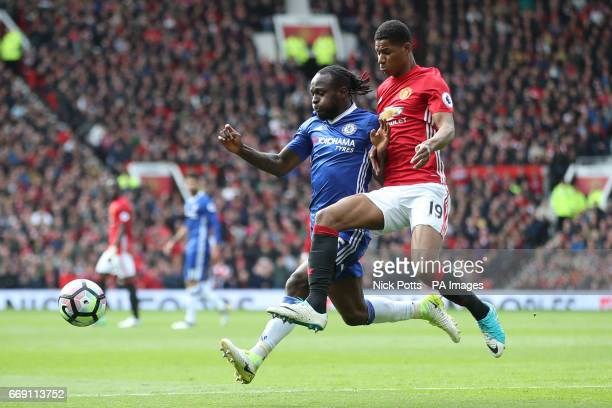 Chelsea's Victor Moses and Manchester United's Marcus Rashford battle for the ball during the Premier League match at Old Trafford Manchester