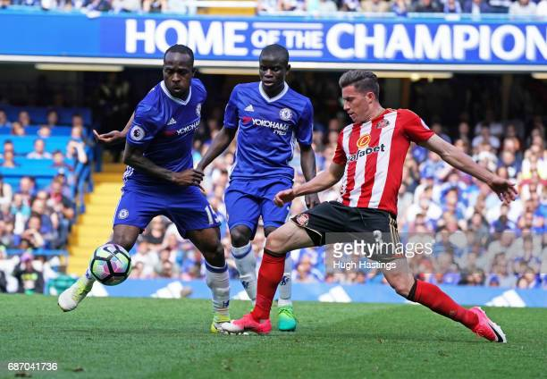Chelsea's Victor Moses and N'Golo Kante during the Premier League match between Chelsea and Sunderland at Stamford Bridge on May 21 2017 in London...
