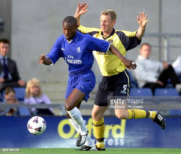 Chelsea's William Gallas holds off the challenge from Oxford United's David Oldfield during preseason friendly at Kassam Stadium Oxford THIS PICTURE...