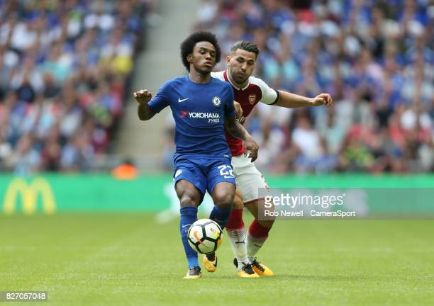 Chelsea's Willian and Arsenal's Sead Kolasinac during the FA Community Shield match between Arsenal and Chelsea at Wembley Stadium on August 6 2017...