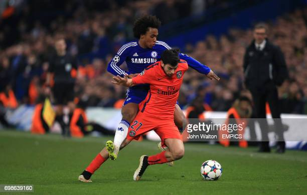 Chelsea's Willian and Paris St Germain's Javier Pastore battle for the ball