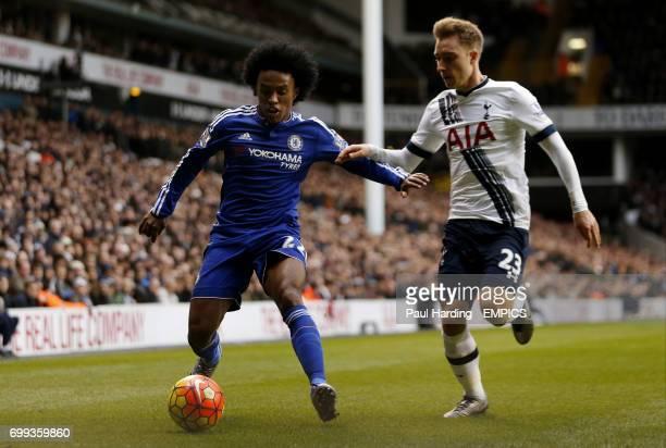 Chelsea's Willian and Tottenham Hotspur's Christian Eriksen battle for the ball