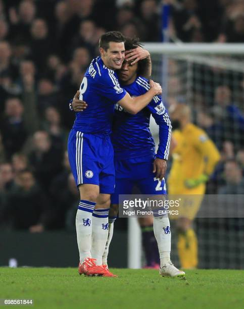 Chelsea's Willian celebrates scoring his sides first goal of the game against Everton with Cesar Azpilicueta