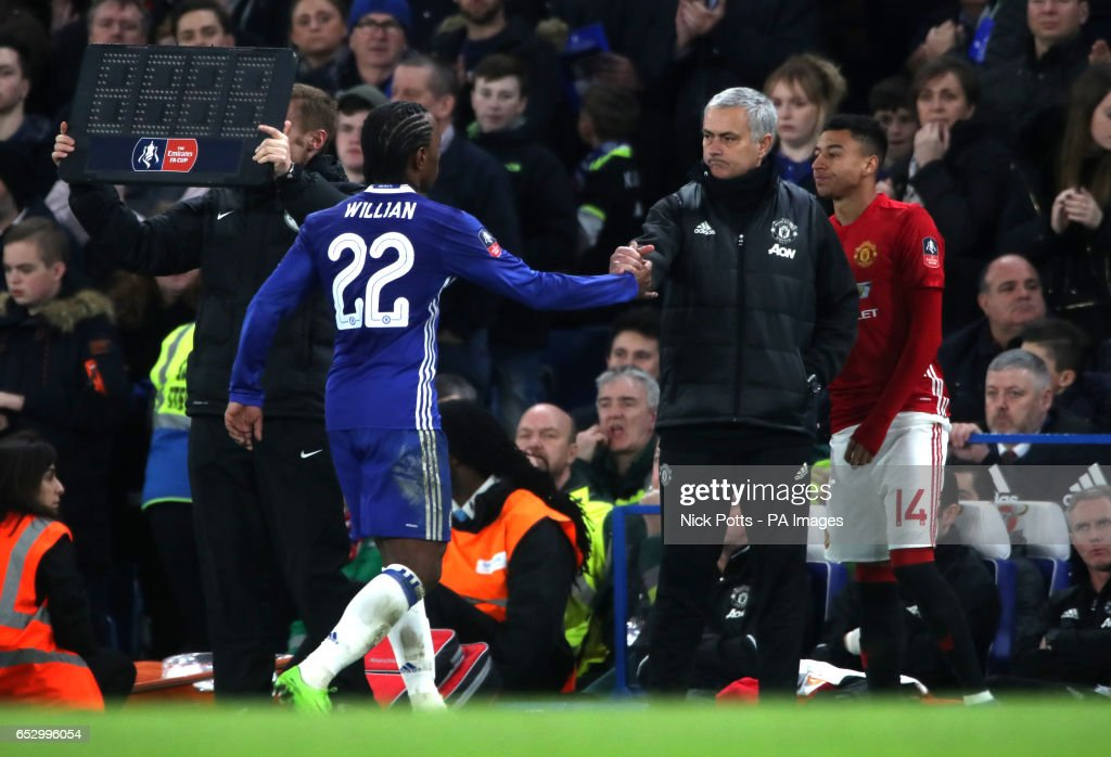 Chelsea's Willian chakes hands with Manchester United manager Jose Mourinho after being subbed during the Emirates FA Cup, Quarter Final match at Stamford Bridge, London.