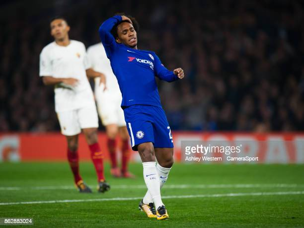 Chelsea's Willian goes close during the UEFA Champions League group C match between Chelsea FC and AS Roma at Stamford Bridge on October 18 2017 in...
