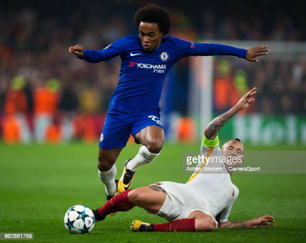 Chelsea's Willian is fouled by Roma's Radja Nainggolan during the UEFA Champions League group C match between Chelsea FC and AS Roma at Stamford...