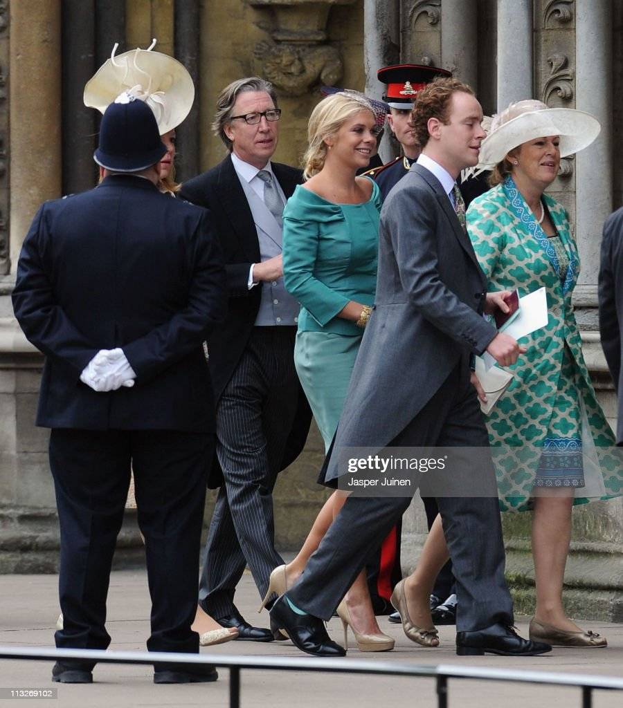 Chelsy Davy and Tom Inskip arrive to attend the Royal Wedding of Prince William to Catherine Middleton at Westminster Abbey on April 29, 2011 in London, England. The marriage of the second in line to the British throne is to be led by the Archbishop of Canterbury and will be attended by 1900 guests, including foreign Royal family members and heads of state. Thousands of well-wishers from around the world have also flocked to London to witness the spectacle and pageantry of the Royal Wedding.