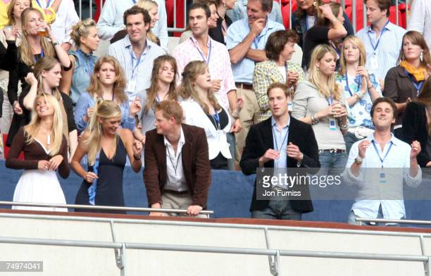 Chelsy Davy HRH Prince Harry and HRH Prince William during The Concert For Diana held at Wembley Stadium on July 1 2007 in London The concert marked...