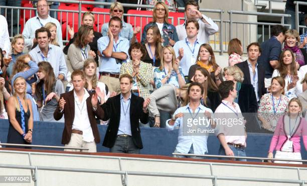 Chelsy Davy HRH Prince Harry HRH Prince William and Kate Middleton during The Concert For Diana held at Wembley Stadium on July 1 2007 in London The...